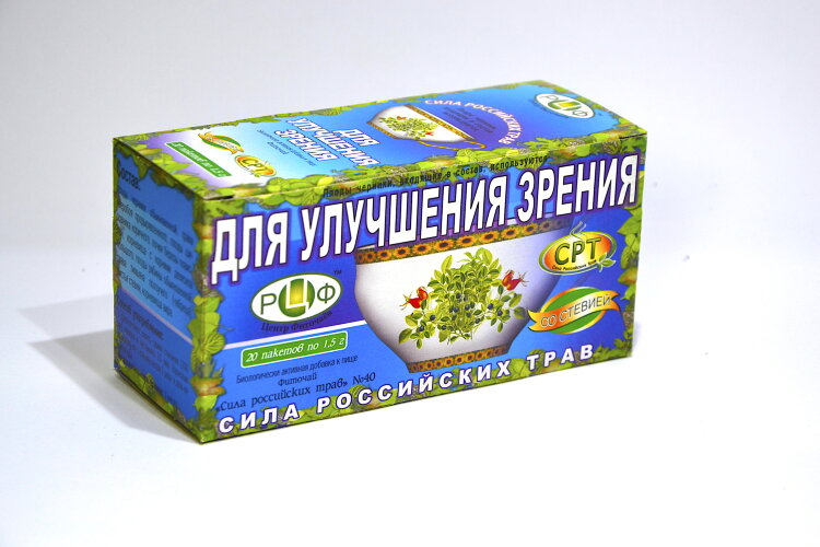 PHYTOTEA №40 To improve vision Herbal tea improves eyesight, normalizes metabolism in the retina and optic nerve, strengthens the walls of the fundus vessels, relieves fatigue from the eyes.